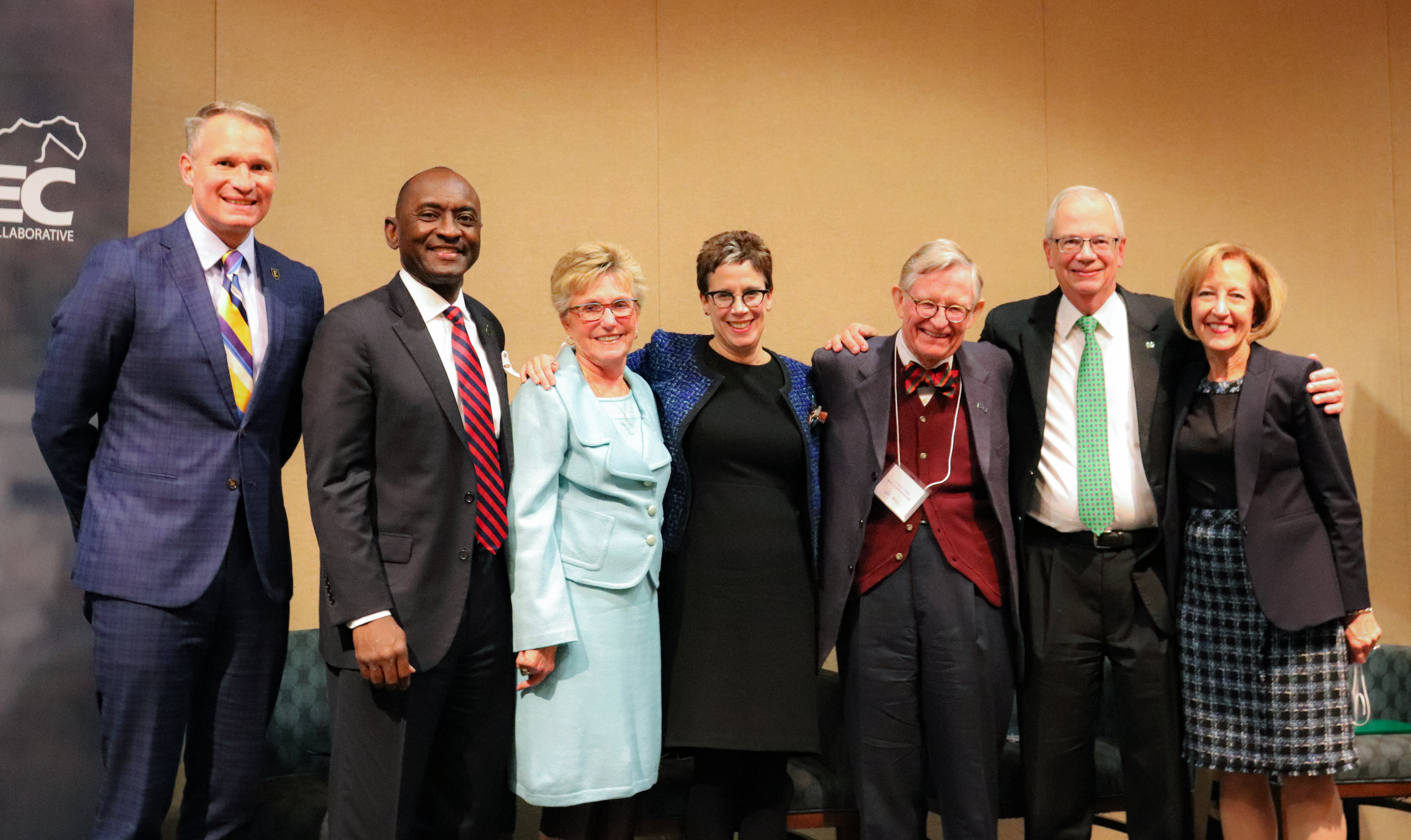 WVPEC members and university and college presidents pose togehter after a panel on the future landscape of higher education in West Virginia